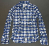 NWT! ABERCROMBIE Mens Vintage Classic Ragged Lake Flannel Blue Plaid Shirt S