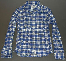 NWT! ABERCROMBIE Mens Vintage Classic Ragged Lake Flannel Blue Plaid Shirt M