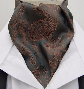 Mens Dark Chocolate & Copper Paisley Satin Ascot Cravat & Hanky -  Made in UK