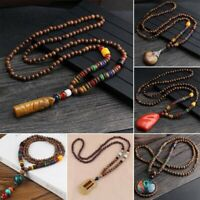 Retro Bodhi Wood Bead Pendant Necklace Women Men Long Sweater Chain Jewelry Gift