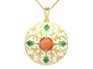 0.55ct Emerald Coral and Enamel 18k Yellow Gold Locket Antique Victorian