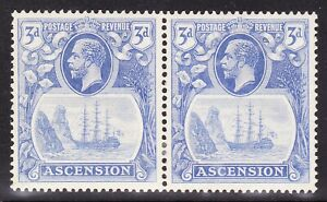 """Ascension 1924-33 3d VAR """"BROKEN MAINMAST"""" IN PAIR WITH NORMAL SG14a FINE MH"""
