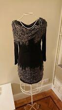 ISABEL DE PEDRO WOMENS DESIGNER BLACK GREY STRETCH DRESS UK 8
