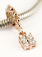 SOLID 9CT 9K ROSE GOLD Dangle BEAD with 4 Sparkling CZ Fits Bracelet / Chain AUS