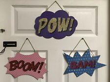 "Superhero Action Signs Pow Boom Bam Action Word Signs Comic Signs ""Lot Of 3� New"