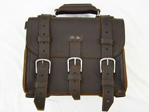 """Saddleback Leather 12"""" SMALL CLASSIC BRIEFCASE Suede Lined 2-Rivet Dark Brown"""