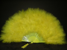 """MARABOU FEATHER FAN -YELLOW Feathers 12"""" x 20"""""""
