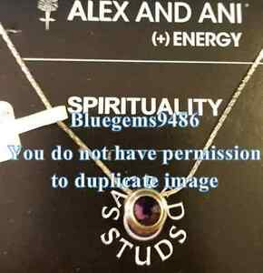 Alex and Ani Sacred Stud Amethyst Spirituality Necklace Gold Plated