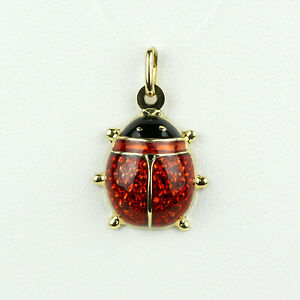 Milor Italy 18k Yellow Gold with Red and Black Enamel Ladybug Charm Pendant