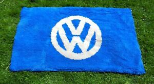 Vintage 1960s 70s Volkswagen Advertising Shag Rug Dealership Piece Display COOL!