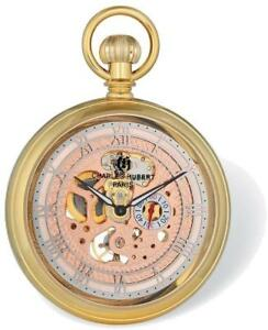 Charles Hubert Gold-Finish Open Face Rose Dial Pocket Watch