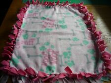 Handmade fleece tie blanket of woof, ruff, sniff for a small pet (pink)