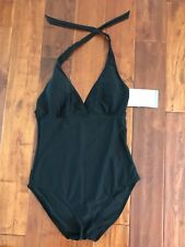 CHRISTINA One-Piece BLACK Swimsuit 💚 Size 14 - Halter Top - NWT $88.00