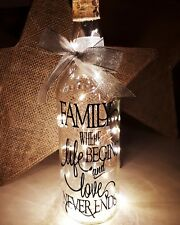 Beautiful Light Up Wine Bottle With Family Quote and sparkling ribbon