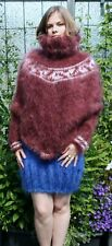 Langhaar Mohair FUZZY SWEATER PULLOVER  PONCHO braun brown
