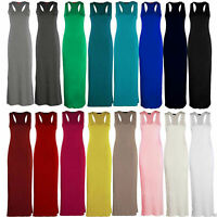 Women Ladies Racer Muscle Back Jersey Long Summer Vest Maxi Dress Plus Size 8-26