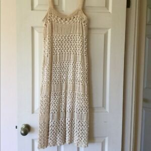 Vintage cream tank crochet 70s dress antique sundress
