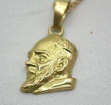 Pesado 18ct oro italiano dignatario cabeza Saint el padre Pío Colgante y cadena