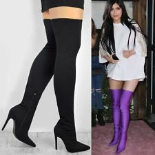 Womens Ladies Stretch Over The Knee Thigh Boots Fitted Leg High Heel Celeb Size