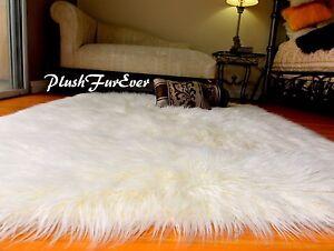 58 x 72 White Premium Mongolian Faux Fur Rectangle Sheep Plush Furry Area Rug