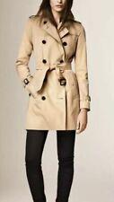 Burberry Kensington Women Trench Coat Gabardine Mid Length US 14 Honey NWT