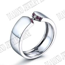 Solid 10k White Gold Natural SI/H Diamonds & Ruby Engagement Wedding Fine Ring