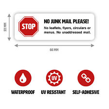 1 x No Junk Mail Sticker for Letterbox, Self-adhesive White (Small - 66 x 22 mm)