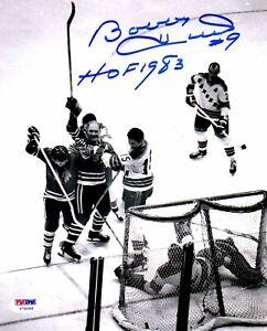 """PSA/DNA BOBBY HULL """"HOF 1983"""" SIGNED CHICAGO BLACKHAWKS 8x10 PHOTO Y79256"""