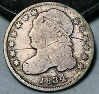 1834 Capped Bust Dime 10C Large 4 Good Details Early Date Silver US Coin CC4680