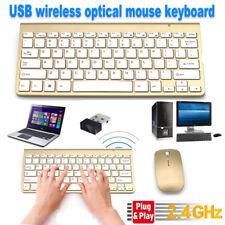 Wireless Keyboard and Mouse Cordless set 2.4G Gold PC Latptop Desktop Apple Mac