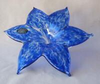 """Large 8"""" Genuine Italian Art Blown Glass Flower Murano Dark Blue Italy No 319"""