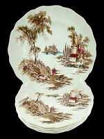 "Johnson Bros Lunch/ Salad Plates Old Mill Set of 5 Ivory 8 3/4"" England Vtg"