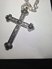"""Large Silver  Martyrs Medieval Cross  Necklace Gothic 24"""""""