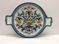 New Glazed Pottery Serving Dish Tray With Handles Beautiful Colors N1