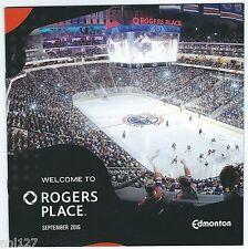 NHL Hockey Edmonton Oilers Fan Opening Guide Rogers Place Building Sept 2016