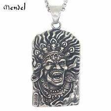 MENDEL Shiva Pendant Necklace Stainless Steel Three Eye Indian Hindu God Ritual