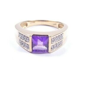 Amethyst and Diamond solitaire with accents Size P1/2 unisex