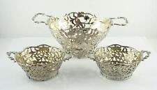 3 Antique Neresheimer, Hanau / B. Mueller Sterling Silver Pierced Bowls 1903-04