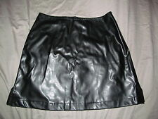 neo goth Black soft rubbery stretchy BLACK above knee skirt MY MICHELLE sz 7 / 8