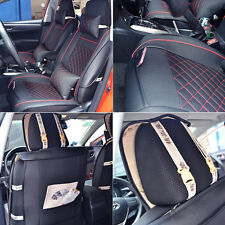 Size M PU Leather 5-Seats Car Seat Cover Cushion Front Rear W/Neck Lumbar Pillow