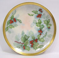 "Vintage Bavaria Germany Hutschenreuther Gelb Porcelain Holly & Berry 8"" Plate"
