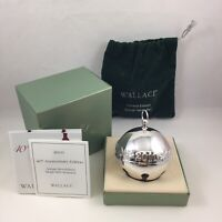 2010 Wallace Silver Plate Sleigh Bell Christmas Ornament w/ Original Box & Pouch