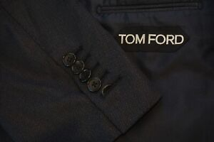 Tom Ford Basic Base A Blue Nailhead Woven Wool 2 Pc Suit Jacket Pants Sz 46L