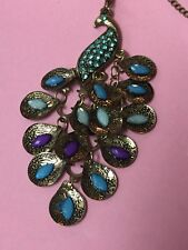 """Peacock Pendant 28"""" Long Necklace Blue Rhinestones Tiered Tail Retro Style New"""