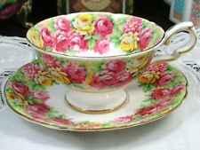 ROYAL STAFFORD ROSANNA ROSES PINK YELLOW WIDE TEA CUP AND SAUCER