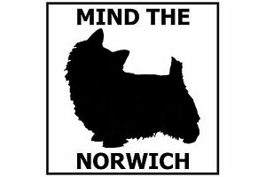 Mind the Norwich Terrier - Gate/Door Ceramic Tile Sign
