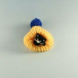 OOAK~Black Cat~Kitten~Miniature Hat~Artist Doll~Baby Toy~Dollhouse~Cheryl Brown
