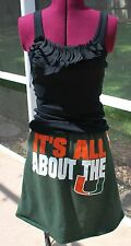 Miami Hurricanes Green Orange Chevron Game Day A line Skirt Upcycled T-Shirts M