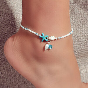 Ocean Style Conch Shell Starfish Seed Beads Turquoise Anklet Sea Beach Jewellery