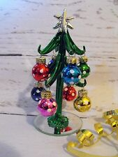 GLASS XMAS TREE CHRISTMAS TABLE DECORATION GERMAN MARKET BAVARIAN CHRISTMAS TREE